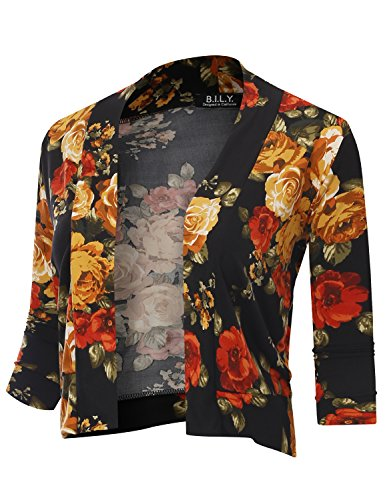 BILY Women's Classic Open Front Cropped 3/4 Sleeve Floral Print Cardigan 70113 Yellow Small ()