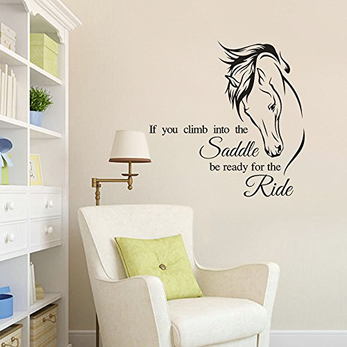 Jeash Horse Pattern If You Climb Into The Saddle Be Ready for The Ride-Letter Wall Sticker Children's Room Bedroom Living Room Background Kindergarten Nursery Personality Decal Home Decorations