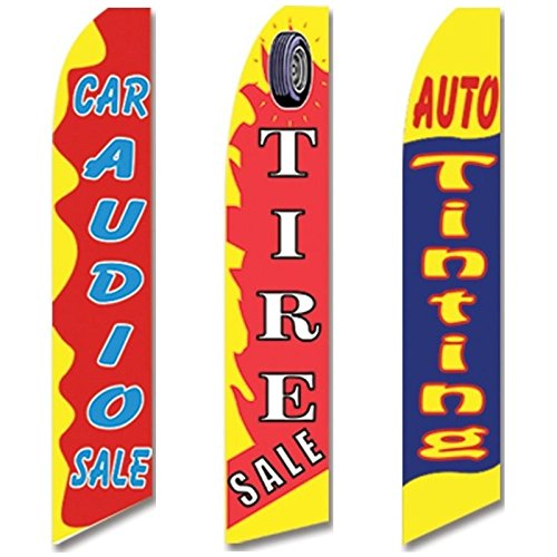 3 Swooper Flags Car Audio & Tire SALE Auto Tinting Welcome Open