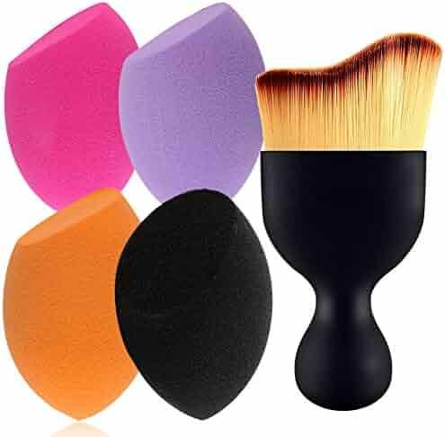 BEAKEY 4+1Pcs Makeup Sponges with Contour Brush, Flawless Foundation Blending Sponge for Liquid Creams and Powders, Professional Beauty Sponge Blender & Face Brush Set