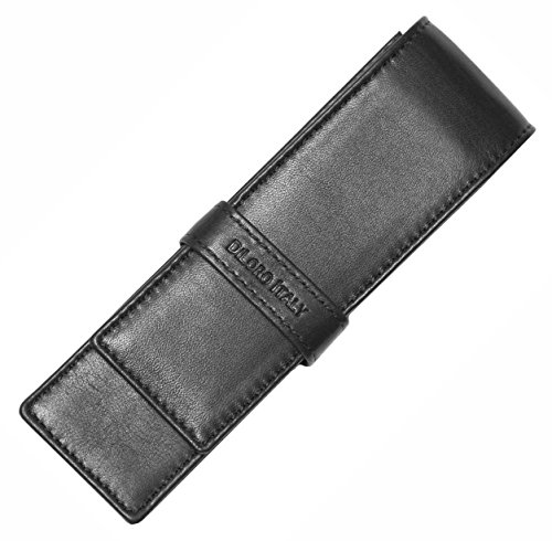 DiLoro Leather Fountain Pen Case Pouch Holder for Double Two Pens Or Pencils in Genuine Full Grain Top Quality Nappa, Elegant Protection Travel Fold Sleeve in (Pen Nappa Leather Case)
