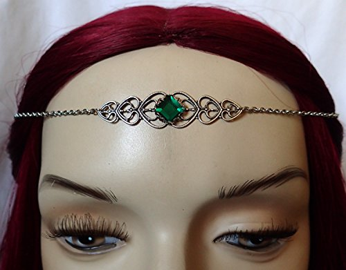 [Emerald Green Celtic Elven Elf Silver Filigree Circlet Headpiece Headdress Crown Rennaissance Medieval Halloween Costume] (Elf Maiden Costume)