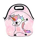 AOTIGO Dab Unicorn Dabbing Dance Neoprene Lunch Bag Insulated Lunch Box Waterproof Lunch Tote Bag with Zipper for Women Kids Boys Girls and Men