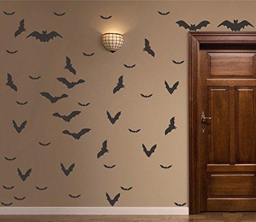 Halloween Wall Decal Spooky Matt Black Bats Decals Halloween Decor Wall&Window Decorations Set of 52 (Diy Halloween Wall Decor Bats Paper Sticker)
