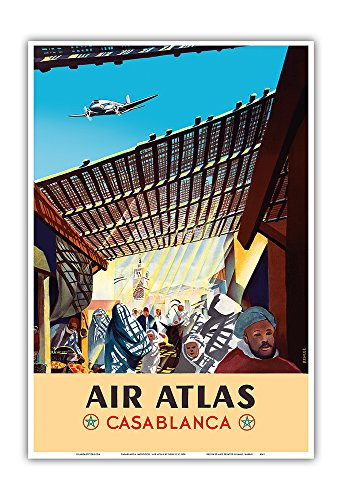 Casablanca  Morocco   Air Atlas   Vintage Airline Travel Poster By Renluc C 1950   Master Art Print   13In X 19In