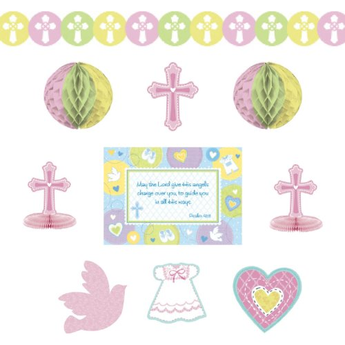 Amscan Sweet Christening Pink Paper Decorating Kit, 10 Ct. | Party Decoration ()