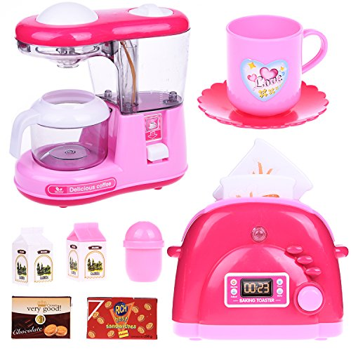 Assorted Kitchen Appliance Toys for Girls, Play Kitchen Accessories for Kids (Toaster Play Pretend)