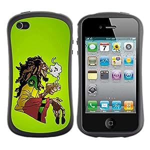 Suave TPU GEL Carcasa Funda Silicona Blando Estuche Caso de protección (para) Apple Iphone 4 / 4S / CECELL Phone case / / Cannabis Weed Hemp Jamaica Bob Music /