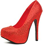 Leg Avenue Bombshell 6'' Satin Rhinestone Pump with 2'' Covered Platform, Size 11, Red