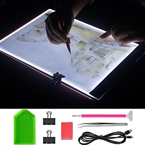 Diamond Painting Light Pad Board Box A4 Tablet LED Art Embroidery Stencil Drawing Cross Stitch Kits with Free Tools by Eswala