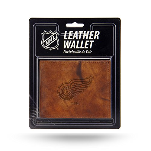 Rico NHL Detroit Red Wings Embossed Leather Billfold Wallet with Man Made Interior - Nhl Leather Embossed Wallet