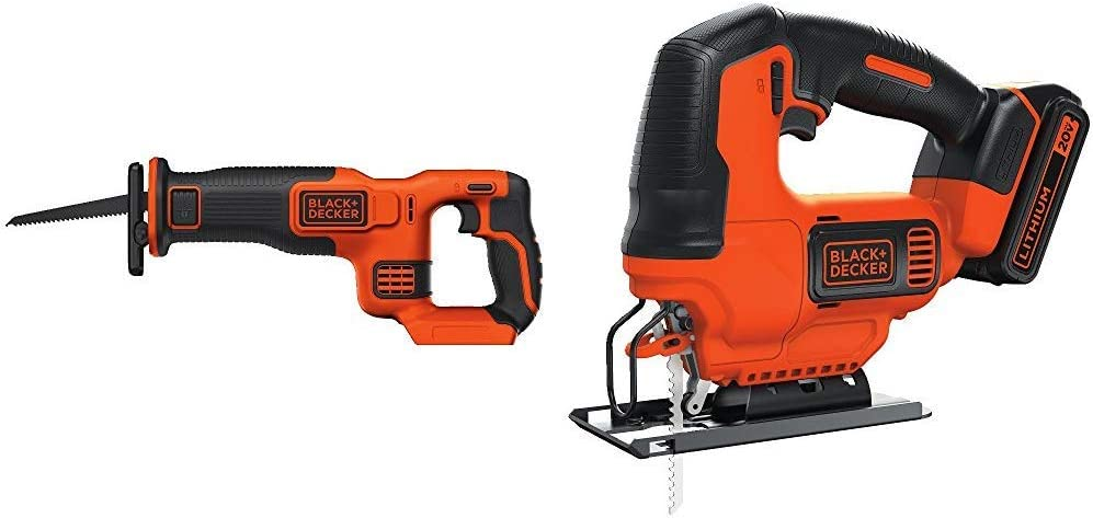 BLACK+DECKER BDCR20B 20V Max Lithium Bare Reciprocating Saw with BLACK+DECKER BDCJS20C 20V MAX JigSaw with Battery and Charger