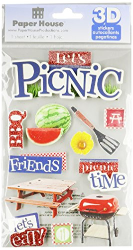 Paper House Productions STDM-0153E 3D Cardstock Stickers, Lets Picnic (3-Pack) (Epoxy Chipboard)
