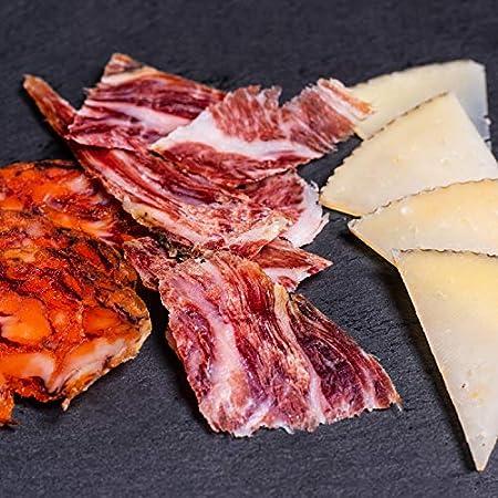 Cesta Gourmet Regalo - Lote Embutidos Gourmet - Embutidos Ibericos, Queso, Rizaditos de Pan Guapo, Mermelada de Pisto Vegana, Vino Tinto, Aceite Oliva Virgen Extra (Sin Lazo)