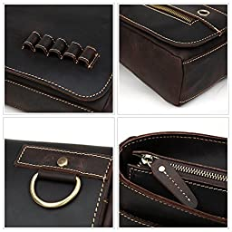 Men's Genuine Leather Professional Messenger Bag Laptop Briefcase