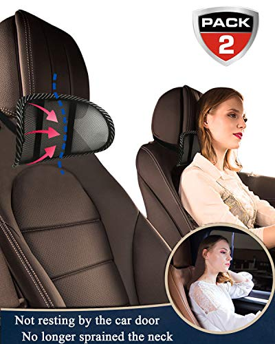 weikin Car Neck Pillow, The New Car Headrest Pillow Mesh Head and Neck Rest Pad Breathable and Easy to Remove Support Neck Safety Pillow, Protect Neck & Vertebra for Office, Car Seat, etc. (2 Pack)