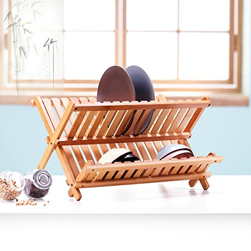 Bamboo Folding Dish Rack Drainer Bowl Plate Cup Drying Rack Holder,Kitchen Utensils Storage Organizer 2-tier Non-assemble 14 slots