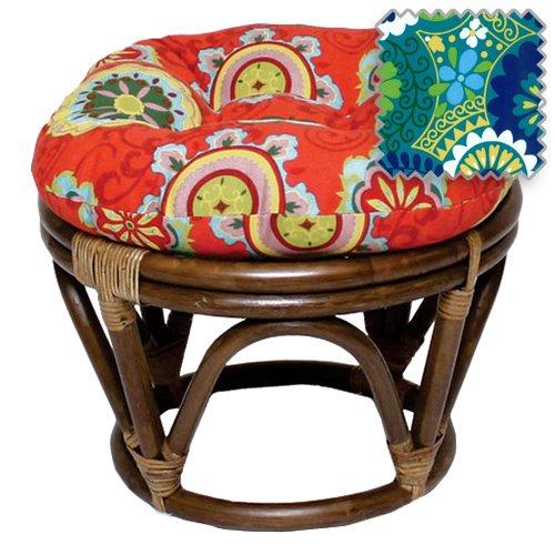18-Inch Bali Rattan Papasan Footstool with Cushion - Print Outdoor Fabric, Luxury - Ottoman Polyester Glider