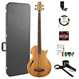 ESP LTL4ZNAT-KIT-2 Thinline Series TL-4Z 4-String Acoustic-Electric Bass Guitar, Natural Gloss