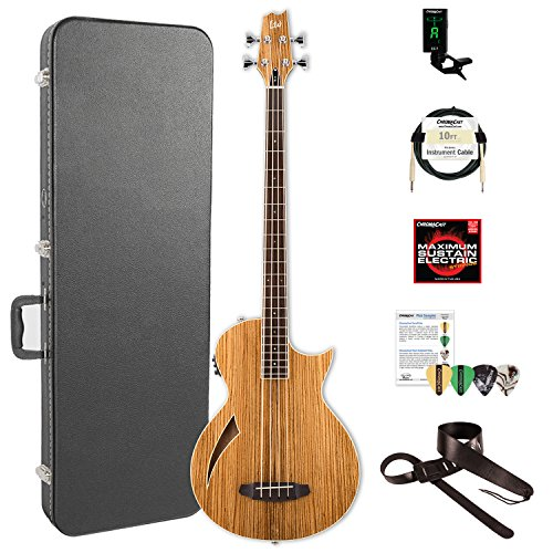 ESP LTL4ZNAT-KIT-2 Thinline Series TL-4Z 4-String Acoustic-Electric Bass Guitar, Natural Gloss by ESP