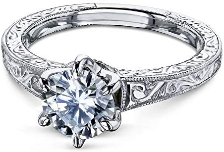 Kobelli 1 CTW 6-Prong Moissanite Solitaire Vintage Engagement Ring 14k Rose Gold (HI/VS, GH/I1-I2)
