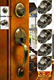 NuSet Antique Brass Malibu Kwikset Keyed Entry Handleset with 5 Packs of NuSet Fremont Keyed Door Knobs, All Locks Keyed Same