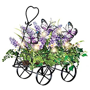 Lighted Lavender Wagon with Purple Butterfly Decorative Accents - Spring Décor for Any Room in Home 7