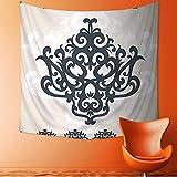 Art Decorative Eastern Islamic Motif with Arabic Effects Filigree Swirled Artsy Print Pearl Grey Wall Hanging Bedspread Multi Purpose Tapestries