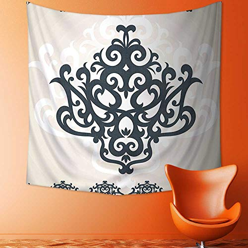 Art Decorative Eastern Islamic Motif with Arabic Effects Filigree Swirled Artsy Print Pearl Grey Wall Hanging Bedspread Multi Purpose Tapestries by Printsonne