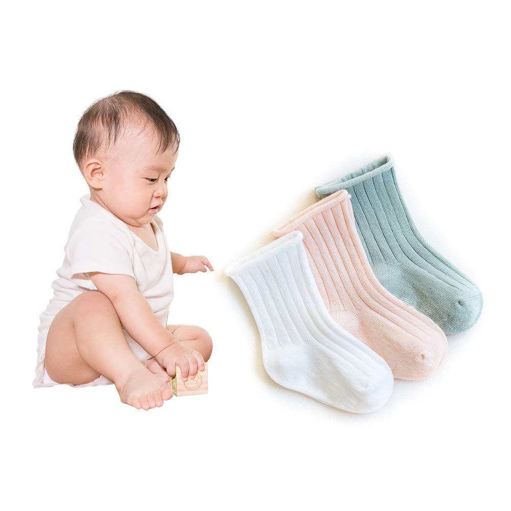 3 Pairs Unisex Baby Socks Anti Slip Short Dress Socks Children Cotton Crew Sock Crimping Socks for Outdoor Indoor XS