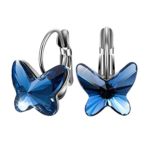 Sivery  Butterfly Dream  Stud Earrings With Blue Swarovski Crystals  Jewelry For Women  Anniversary Gifts For Mom
