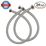 Lamdico Faucet Connector Braided Stainless Steel Supply Hose 3/8 Compression Female Thread