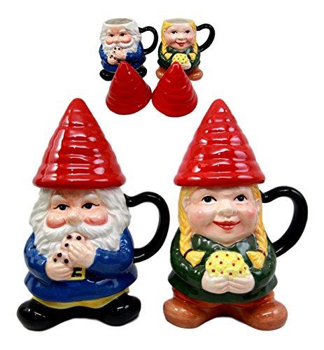 Atlantic Collectibles Whimsical Mr & Mrs Gnome Couple Ceramic Mug Coffee Cup Set Home Kitchen Stoneware Figurine