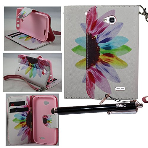 2-in-1 Bundle Combo SOGA® Magnetic Flip PU Leather Pouch Wallet Case Cover For LG Optimus L70 with SogaWireless Stylus Pen - Colorful Sunflower [SWF123]