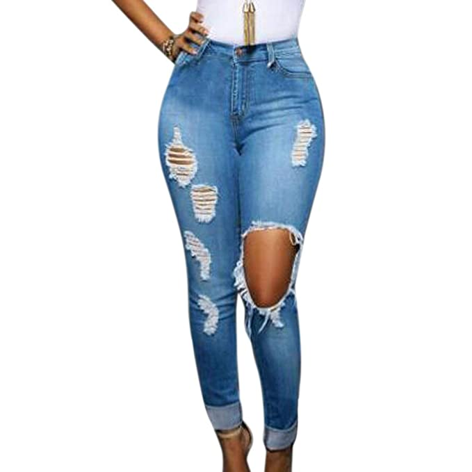 28f7cbe1db0 Paixpays Sexy Women High Waist Destroyed Ripped Slim Pants Boyfriend Jean  Trousers Skinny Blue