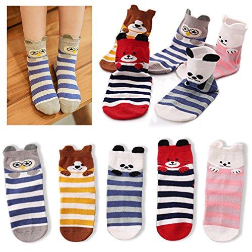Kidstree Fashion Cute Animal Kids Toddler Girls Winter Cotton Crew Socks 5 Pairs Pack