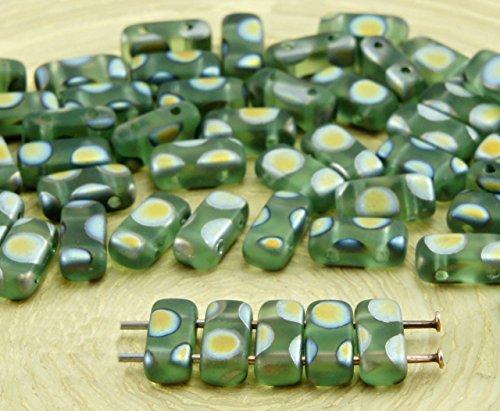 (40pcs Matte Crystal Light Peridot Green Dotted Peacock Dichroic Vitrail Flat Bricks Rectangle Bar 2 Two Hole Czech Glass Beads 8mm x 4mm)