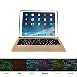 HIOTECH iPad Pro 12.9 Keyboard Slim Aluminum Wireless Keypad with 7-color LED Backlit & Built-in 5600mAh Power Bank for iPad Pro 12.9 (gold)