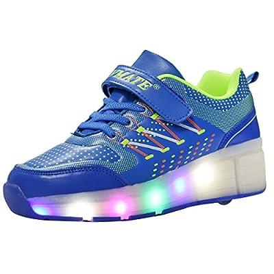 VMATE PU Boy Girl LED Light Up Roller Double Single Wheel Skate Sneaker Sport Shoes Dance Boot