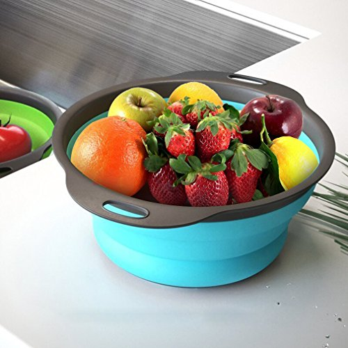 Qimh Collapsible Colander Set of 3 Round Silicone Kitchen Strainer Set - 2 pcs 4 Quart and 1 pcs 2 Quart- Perfect for Draining Pasta, Vegetable and fruit (green,blue, purple) by QiMH (Image #4)