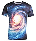 AIEOE Mens Womens Unisex Tee Shirts 3D Printed Short Sleeve Summer Casual Cool T-Shirts Fashion Couple Top Blue Vortex M