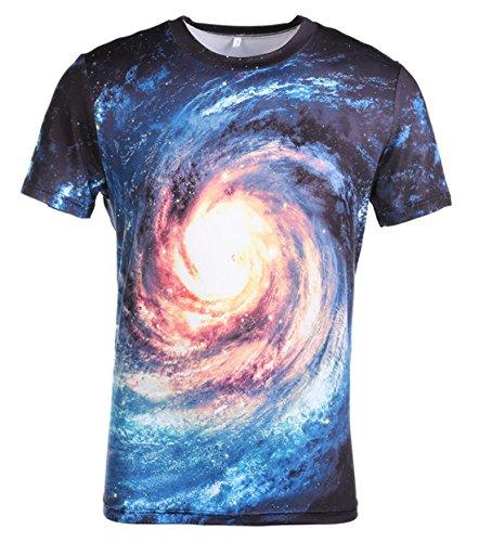 AIEOE Colorful 3D Couple Top Galaxy Print T-Shirt Short Sleeve Fashion Casual Tees Blue Swirl 2XL by AIEOE