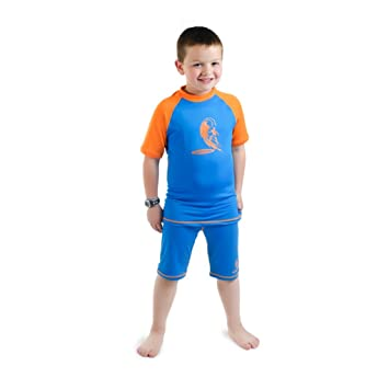 b84d39ba00 Swimfree Boys Size 2 Blue/Orange Sun UV Protective Rash Guard Swimsuit Swim  Shirt &