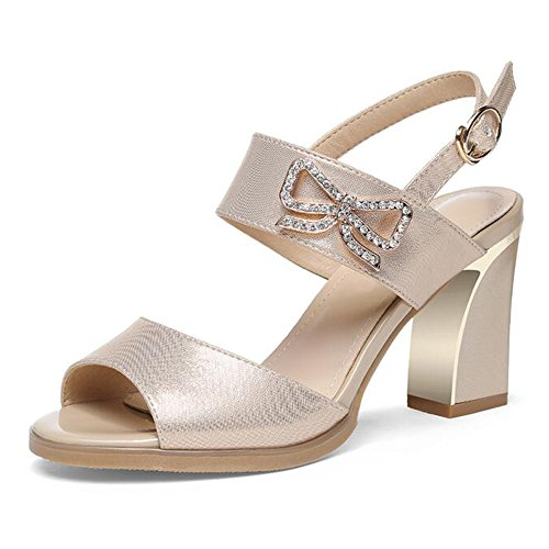 Sandals Feifei Women's Shoes Summer PU Material Fashion Fish Mouth Black Gold Optional (Waterproof Table: 1CM, with High: 9CM) Gold