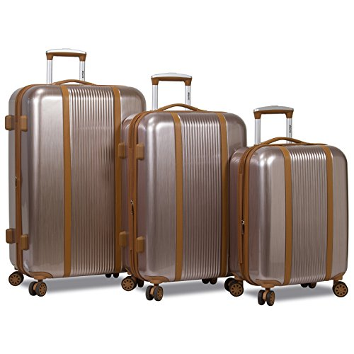 Dejuno Monroe 3-Piece Hardside Spinner TSA Lock Luggage Set - Rose Gold by Dejuno