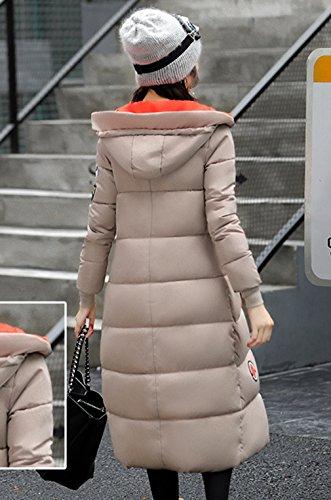 Caqui acolchado Puffer Delgado Outwear algodón del abajo COMVIP Mujeres rodilla capa hacia gruesa 7ZUZAP