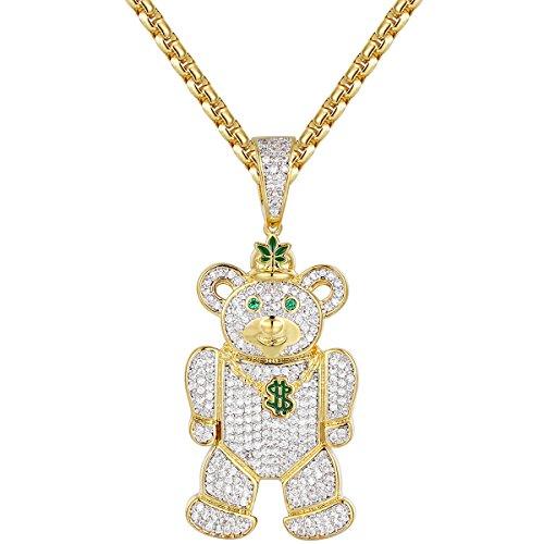 JuwlCity Hip Hop Custom Teddy Bear Weed Dollar 14k Gold Finish Pendant Chain -