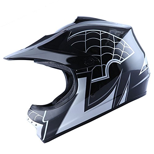 WOW-Motocross-BMX-Youth-ATV-Dirt-Bike-Black-Spider-MX-Helmet