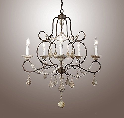(5 Light Crystal Chandelier Metal Frame Pendant Lamp 28