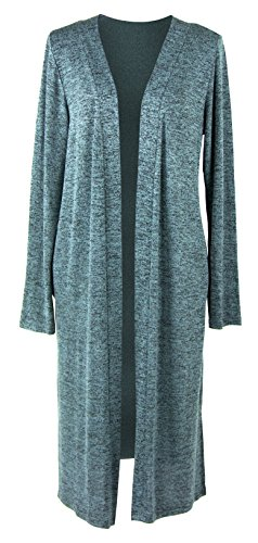 Hello Mello Signature Soft Carefree Threads Long Cardigan With Matching Drawstring Tote Bag (Mint, X-Large)
